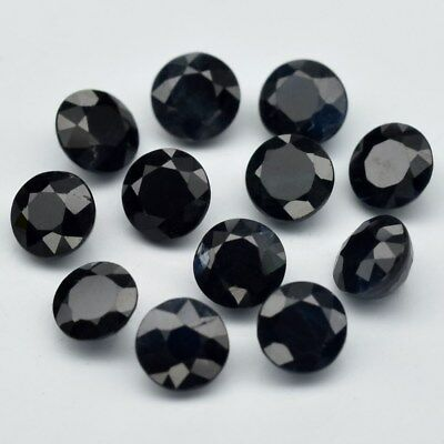 Calibrated 12pcs Lot 4.48ct t.w 4mm Round Natural Dark Blue Sapphire, Thailand