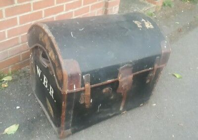 Large Victorian Canvas Covered Travelling Chest Trunk Luggage Case Bournemouth