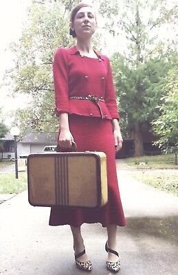 AMAZING 1940s Red Knit Set Strong Shoulders Two Piece Dress Set EUC Vintage