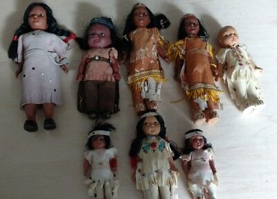 8 Vintage Bisque Native American Indian Girl & Boy Dolls Collection of 8
