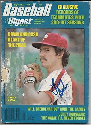 LARRY BOWA Signed 9/1976 Full BASEBALL DIGEST AUTO Signature WORN COVER Phillies