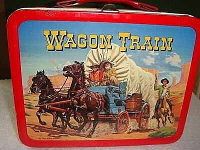 Vintage 1964 Wagon Train Lunch Box and Thermos