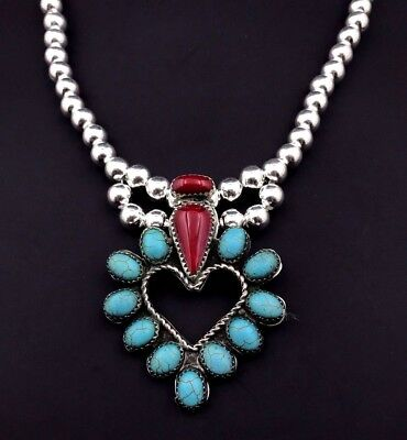 Silver and Turquoise Heart Necklace Navajo Native American Coral Handmade *762