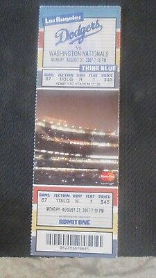 Mlb- Los Angeles Dodgers(Home)Vs. Washington Nationals Full Ticket -Aug.27,2007
