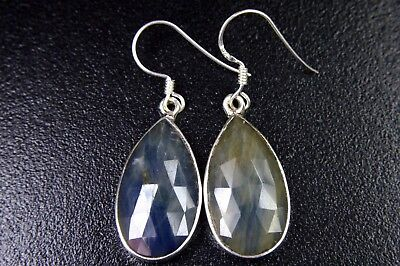 OJ-0065 Sapphire Gemstone Faceted Solid 925 Sterling Silver 28Ct 13x26mm Earring