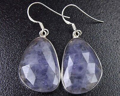 OJ-0073 Iolite Gemstone Faceted Solid 925 Sterling Silver 33Cts 18x28mm Earring