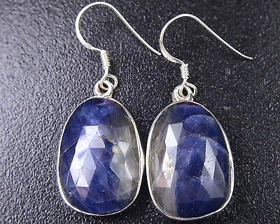 OJ-0067 Natural Blue Sapphire Gemstone Solid 925 Sterling Silver 40Cts Earring