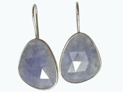 OJ-0034 Natural Blue Sapphire Cut Faceted Solid 925 Sterling Silver 31Ct Earring