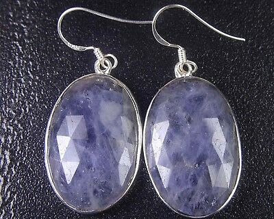 OJ-0061 Blue Sapphire Gemstone Faceted Solid 925 Sterling Silver 42Cts Earring