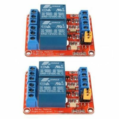 2pcs 12V 2 Channel Relay Module Optocoupler High Low Level Trigger for Ardu B3D8