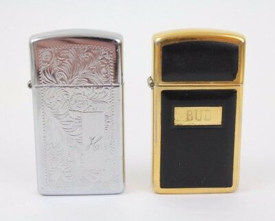 Lot of 2 Vintage Zippo Slim Lighters Brass and Venetian