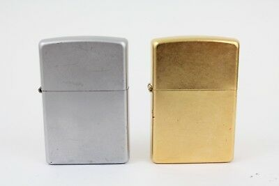 Lot of 2 Zippo Lighters: 2004 Gold Dust Unfired 2004 Chrome Used