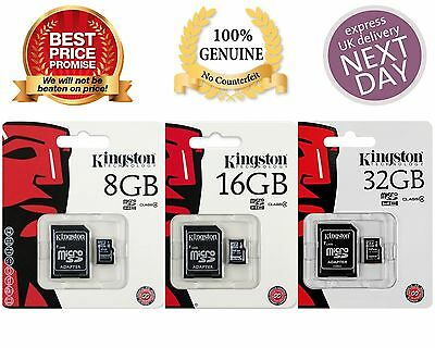 High Quality Kingston 8GB 16GB 32GB SDHC Class 4 Micro Memory SD Card + Adapter