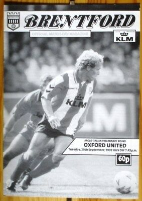 Brentford v Oxford United Anglo Italian Cup 92/93 Mint