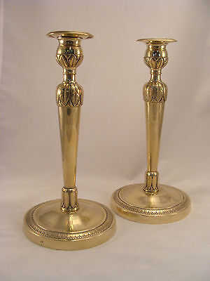Unique Pair Antique French Brass Bronze Directoire Candlesticks 18th.C.