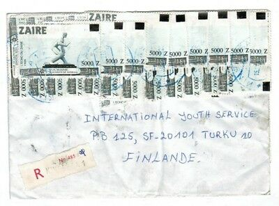 Zaire 1992 Inflation Registered Cover $205,000Z to Finland with 41 Stamps !!!!