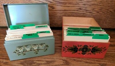 Vintage Lot Of 2 Recipe Boxes Stufeed with Recipes.-1 Wooden,1 Metal