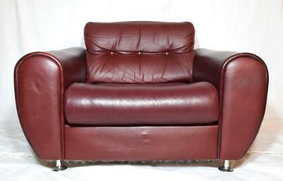 Retro Leather Armchair Vintage 1970s Refurbished 2 of 2