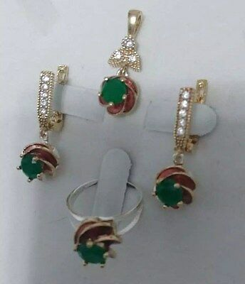 925 Sterling Silver Handmade Jewelry Green Emerald Accented Lady Sets Size 7