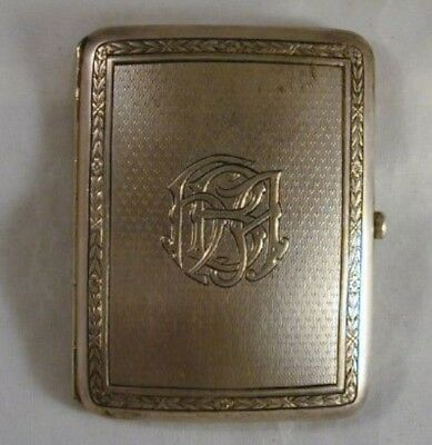 Beautiful 1909 Antique Hallmarked London Sterling Silver Heavy Cigarette Case