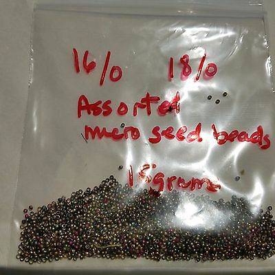 Antique Victorian  Original Brass Steel Dyed Assorted  Micro Seed Bead 16/0-18/0