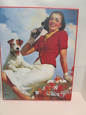 Vintage Classic Coca Cola Painting of Young Girl Drinking Coke Collectable