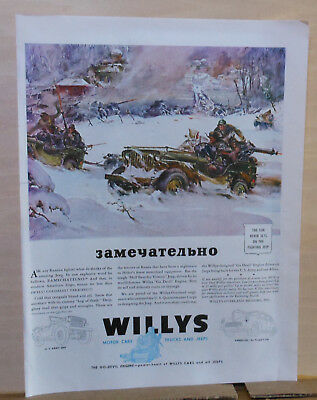 1943 magazine ad for Willys Overland Jeep - Russian WW2 battle scene in snow