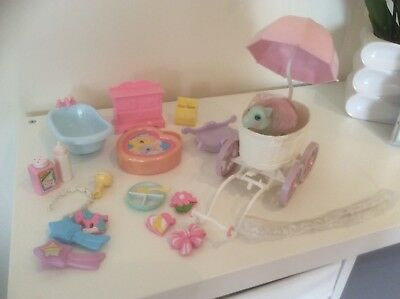 Baby Buggy Playset My Little Pony G1 Toy With Baby Cuddles & Accessories
