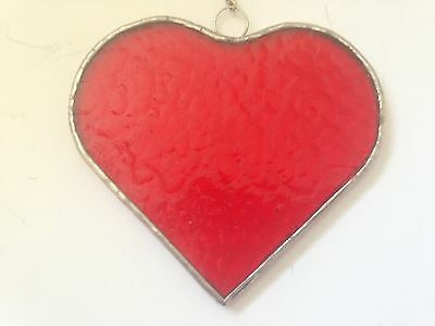 Stained Glass Hanging Sun Catcher (Love Heart) Red rippling waterglass