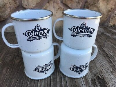 Coleman Enamel Lot 4 Coffee Mugs White Camping Cups The Sunshine of the Night