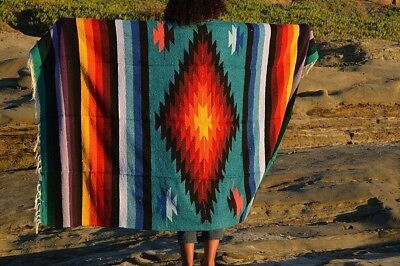 Mexican Blanket Tribal Diamond Teal Sunburst PREMIUM XL Handwoven Throw 78x48