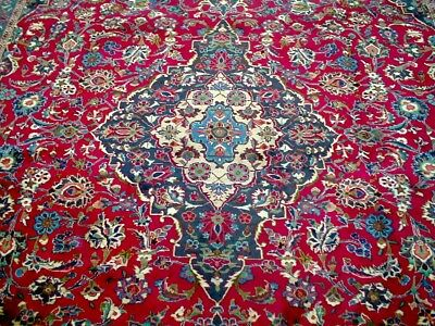 10X13 1960's GORGEOUS AUTHENTIC HAND KNOTTED HOT PINK ANTQ KASHMAR PERSIAN RUG
