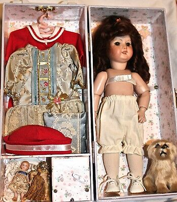 Reproduction Bleuette Doll and Case with Extras.