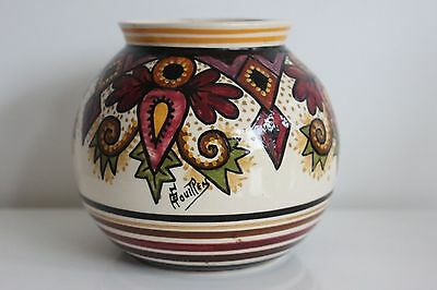 Vase Paul Fouillen French hand painted faience Quimper  Géometric décor