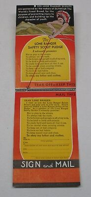 Lone Ranger Safety Scout Card Intact and Not Mailed WOR Newark NJ