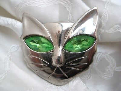 Vintage 1960s Cat Face GREEN Eyes Halloween Brooch