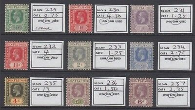 FIJI 1923-27 KGV GROUP (x9) MINT (ID:209/D48329)