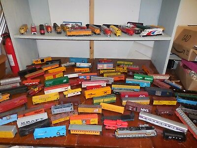 Wholesale Lot of Toy Train Engines & Box Cars with Misc. Railroad Track