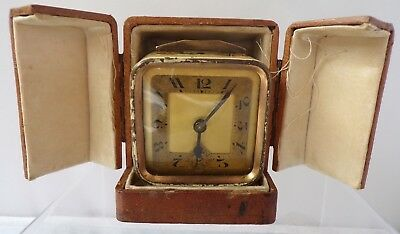 Vintage Antique French Miniature Cased Enamel Clock Art Deco Carriage
