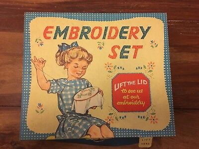 VINTAGE TOY EMBROIDERY SET 1950's COMPLETE AND BOXED