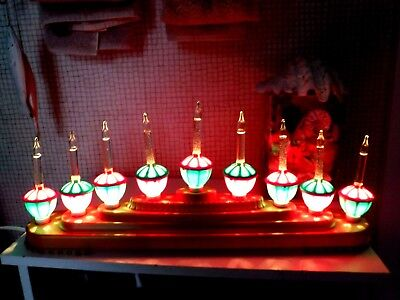 9 Bulb Candelabra w Glitter Filled Clear Tipped Working Bubble Lights - Adorable