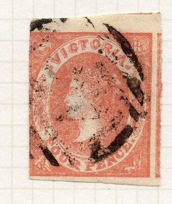 AUSTRALIA VICTORIA 1857 QV Imperf Early Issue Fine Used 4d. 195173