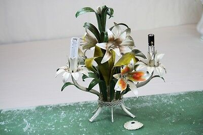Tole Chandelier Italian Floral 3 Light Hanging Light Table Lamp Painted Iron