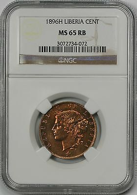 1896H Liberia Cent MS 65 RB Red Brown NGC