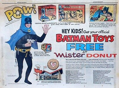 Batman Toy ad from Mister Donut - large half-page Sunday comic ad, July 31, 1966