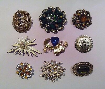 Job Lot of 9 x Vintage and Modern Brooches (LM15)