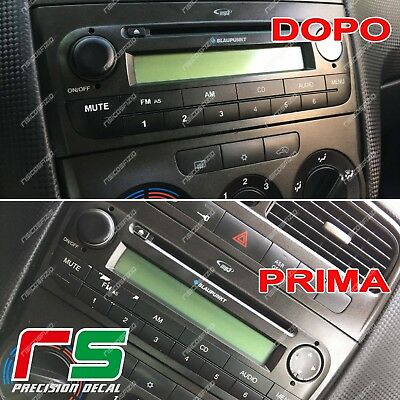 fiat punto ADESIVI ripristino tasti stereo decal sticker cover nero opaco carbon