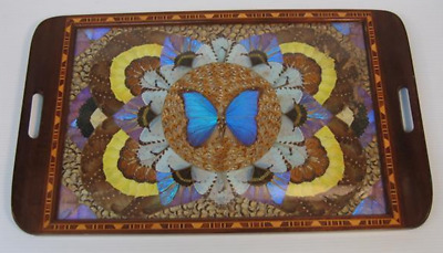 A Beautiful Vintage Wooden Tray with Butterfly Wings