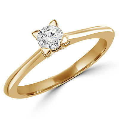 .33 Ct Si Round Diamond Solitaire Engagement Ring 10K Yellow Gold