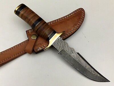 """Ash a55 damascus steel handmade hunting bowie knife 11"""""""